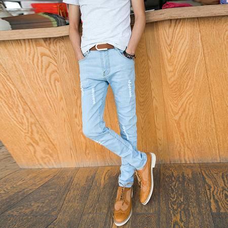 mssefn 2014新款 淡色牛仔裤潮裤修身男士百搭潮牛仔裤2098-NZ61