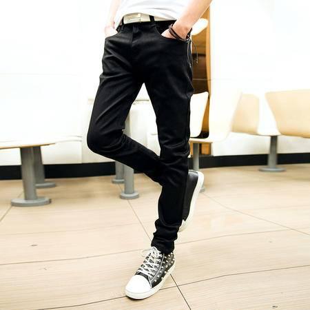 mssefn 2014新款四季时尚百搭个性潮修身男士黑色小脚牛仔裤2098-NZ06