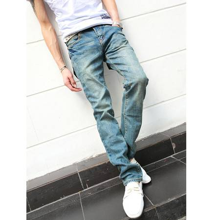 mssefn 2014新款 个性口袋 时尚百搭个性男士小脚牛仔裤2098-NZ24