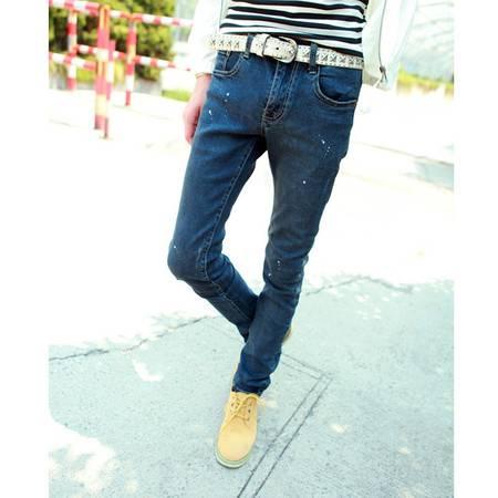 mssefn 2014新款 时尚百搭个性潮修身个性漆点男士潮牛仔裤2098-B10