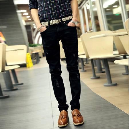 mssefn 2014新款时尚百搭男士个性潮修身小脚牛仔裤2098-805
