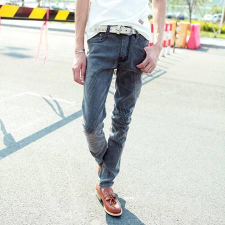 mssefn 2014新款 秋冬黑灰潮流百搭个性修身男士牛仔裤2098-B05