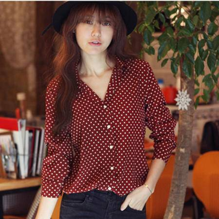 mssefn  2014秋装新款韩版波点长袖衬衫8629-2954