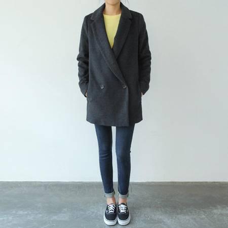 mssefn   2014宽松韩版大衣一粒扣毛呢外套8618A-X2