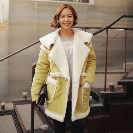 mssefn 2014新款韩版防寒保暖加厚羊羔毛仿古外套棉服 牛仔风 8612-9533