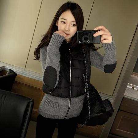 mssefn   2014新款针织拼接外套棉衣女韩版新款棉袄 针织袖棉服8619-F188