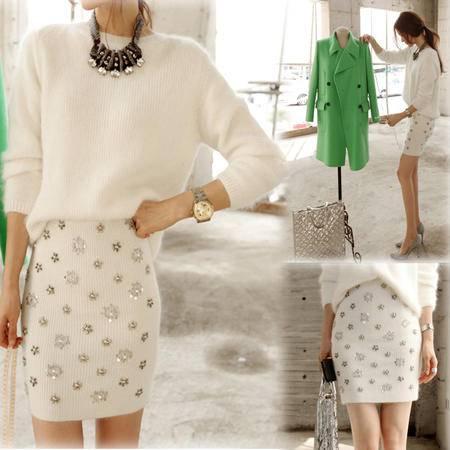 mssefn  2014新款 手工奢华订珠重品 天然兔毛毛衣 裙裤 套装 8612-9530
