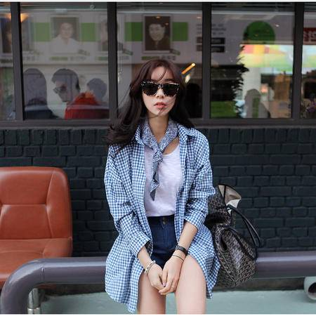 mssefn   2014秋装新款 韩版休闲宽松中长款格子衬衫8621-QC813
