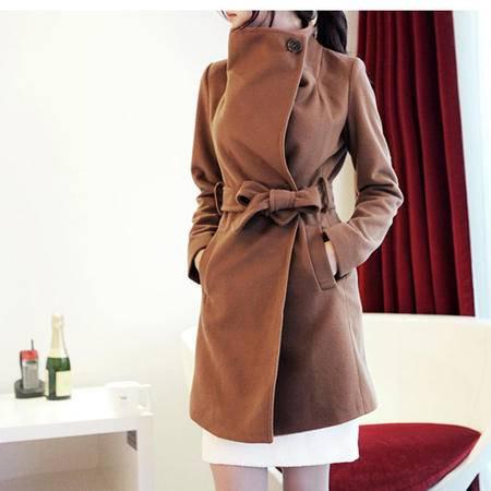 mssefn  2014新款女装韩版收腰毛呢外套中长款羊绒上衣8319-F01