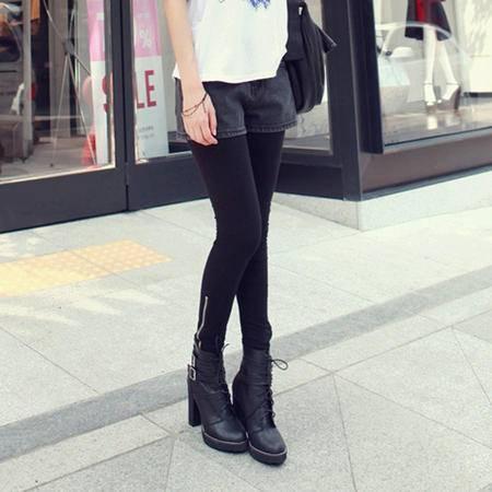 mssefn  2014新款 精版 全棉舒适修身高档打底裤 显瘦拉链裤脚 8619-W906