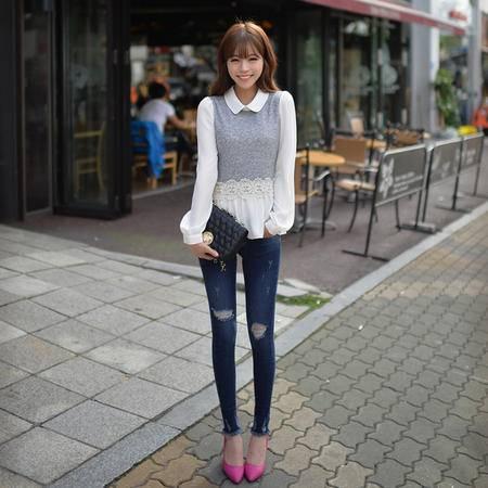 mssefn  2014秋季新款 圆领针织雪纺拼接长袖女式衬衫8619-C1001