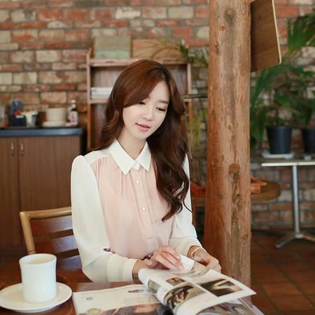 mssefn 2014秋装新款  韩版修身拼色雪纺长袖女衬衫8615-802