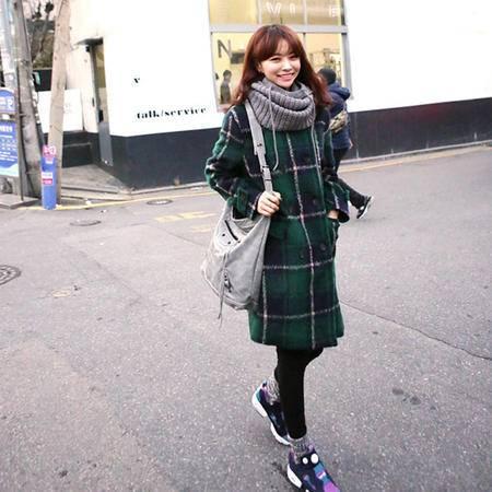 mssefn 2014新款 韩版甜美学院风经典格子毛呢大衣 8616-D11