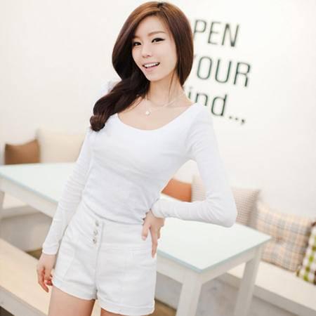 mssefn 2013新款 精版 全棉舒适修身高档打底衫 白色长袖T恤 8619-905