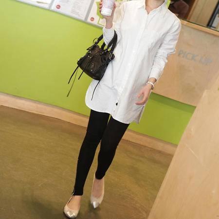 mssefn 2014新款 休闲宽松显瘦大码长袖白衬衫 8616-W01
