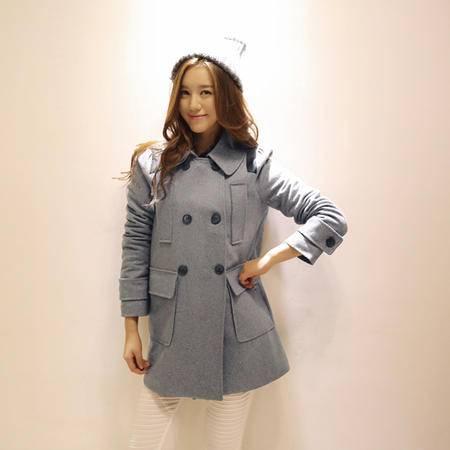 mssefn 2014秋冬新款 韩版修身长袖夹棉加厚呢外套 8615-1320
