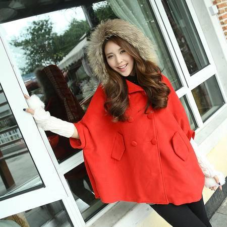mssefn 2014新款 韩版时尚披风斗篷披肩外套英伦风衣连帽毛呢外套 8619-11318