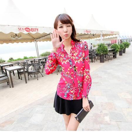 mssefn 2014新款 时尚简洁钻石花 气质长袖衬衫 8619-X6610