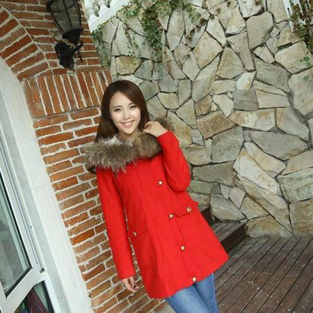 mssefn 2014新款 冬款韩版 大毛领中长款修身呢大衣外套 8619-W903