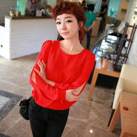 mssefn 2014新款 韩国甜美小清新 露肩长袖雪纺衫 8616-W02