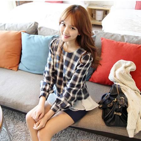 mssefn  2014新款韩版甜美格子衬衫 8613-M003