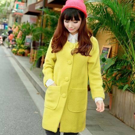 mssefn 2014新款 时尚长袖女装 包扣羊毛呢大衣8611-W03