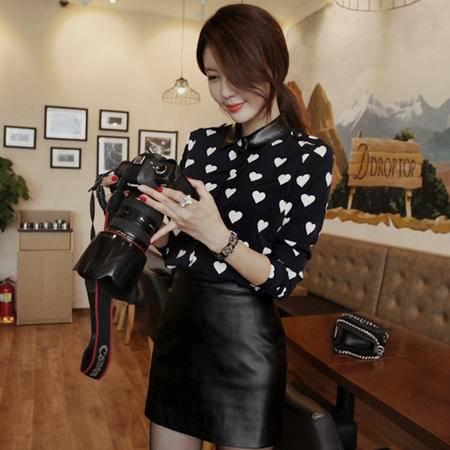 mssefn 2014 新款 特制修身女装爱心拼皮衬衫 8611-C42