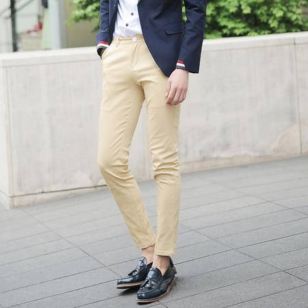 mssefn2014秋装新款 英伦风修身直筒休闲裤 韩版潮男式瘦身九分裤K124