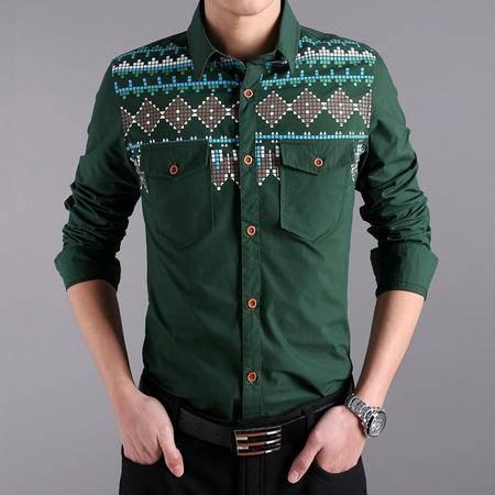 mssefn2014春季新款男装韩版男士修身长袖衬衣休闲衬衫QT1503-12100