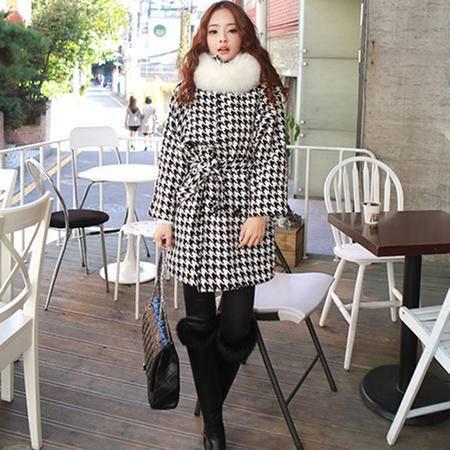 mssefn 2014新款 韩版气质女装 甜头清新黑白千鸟格外套8611-W18