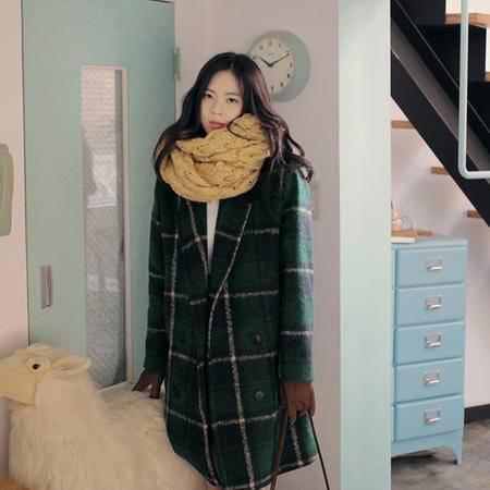 mssefn  2014新款 气质女装 英伦复古绿格子毛呢大衣 8611-W135
