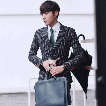 mssefn秋装英伦波点双排扣男士韩版修身西装外套 商务休闲西服XZ90