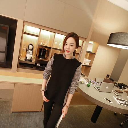 mssefn  2014秋装新款  时尚休闲修身女衬衫 拼接衬衫 8611-C47