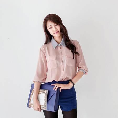 mssefn 2014新款 时尚修身长袖秋款女装 拼色双口袋衬衫 8611-C301