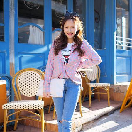 mssefn  2014新款  韩版修身长袖女士粉格衬衫 8611-C60