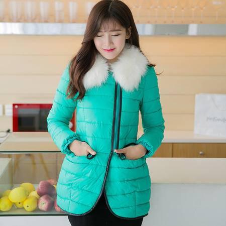 mssefn  2014冬季新款韩版中长款 糖果色修身棉衣棉服女8605A-L918