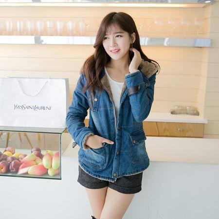 mssefn   2014韩版加厚保暖全棉牛仔拼接加绒修身棉衣女8605A-B918