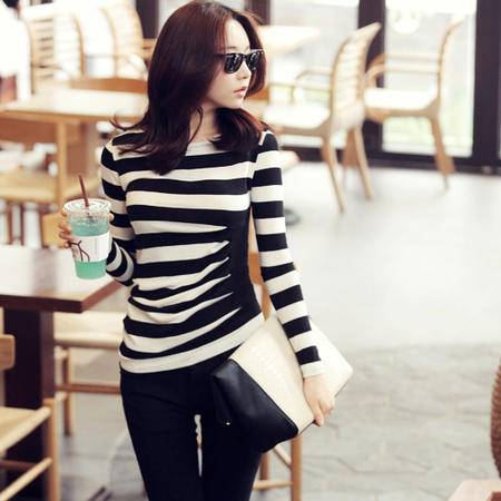 mssefn   2014秋装新款韩版长袖T恤不对称条纹T恤8607-Q301