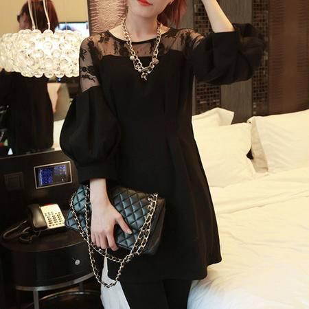 mssefn  2014韩版秋装新款七分泡泡袖拼蕾丝连衣裙8607-C078