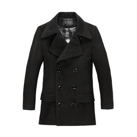 mssefn 2014新款潮男韩版中长款双排扣呢子大衣男士英伦风外套 2068-M05