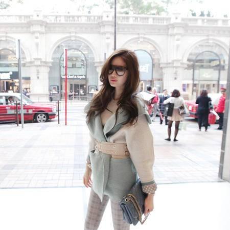 mssefn  2014秋冬新款韩版冰淇淋色系拼色呢大衣8606-w66