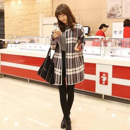 mssefn  2014 秋季新款 韩版修身针织开衫 百搭格纹针织衫8606-H12