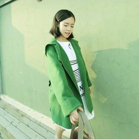 mssefn2014秋冬新款韩版大码宽松单层绒质风衣  8201-F705