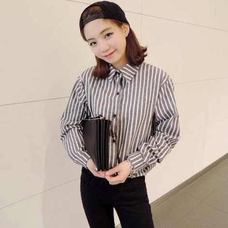 mssefn2014韩版新款经典竖条纹学院翻领长袖衬衫 8201-C707