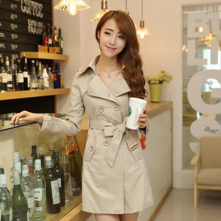 mssefn 2014秋装女式中长款风衣韩版休闲外套系带双排扣女装YYZC701