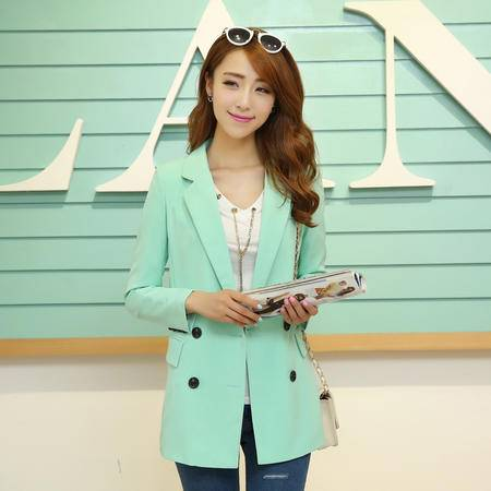 mssefn2014韩版小西装秋季新款双排扣长袖百搭休闲女式外套YYZC693