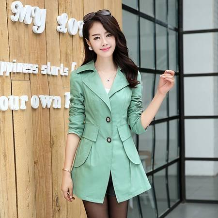 mssefn2014韩国女装外套杭州品牌女装中长款修身风衣YFBH1872