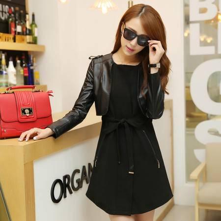 mssefn2014韩版时尚潮流大牌假两件套皮风衣气质女装外套YYZC698