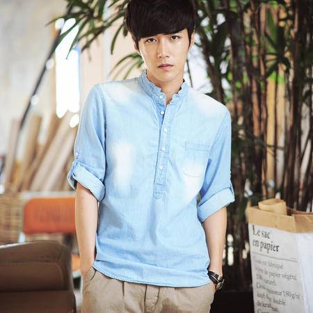 mssefn2014秋装韩版新款男士长袖水洗牛仔衬衫 C1220-65