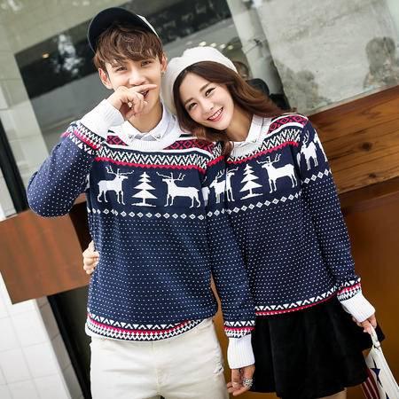 mssefn 2014新款韩版小鹿情侣针织衫圆领毛衣班服1586-M25
